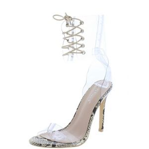 Shoes - Clear Python Lucite Snake See through Boot Heel 10